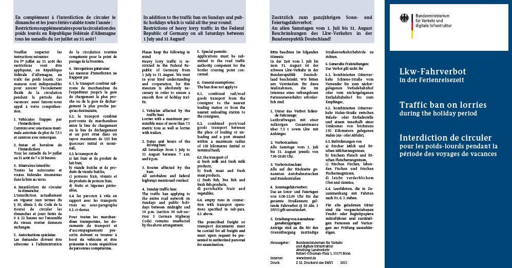 restricciones circulacion Alemania verano