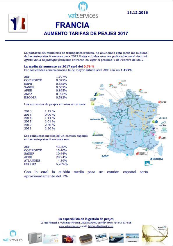 aumento tarifas peajes en Francia