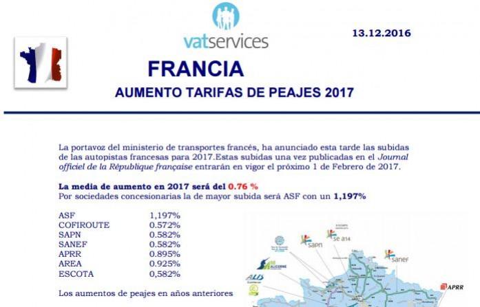 aumento de tarifas peajes francia